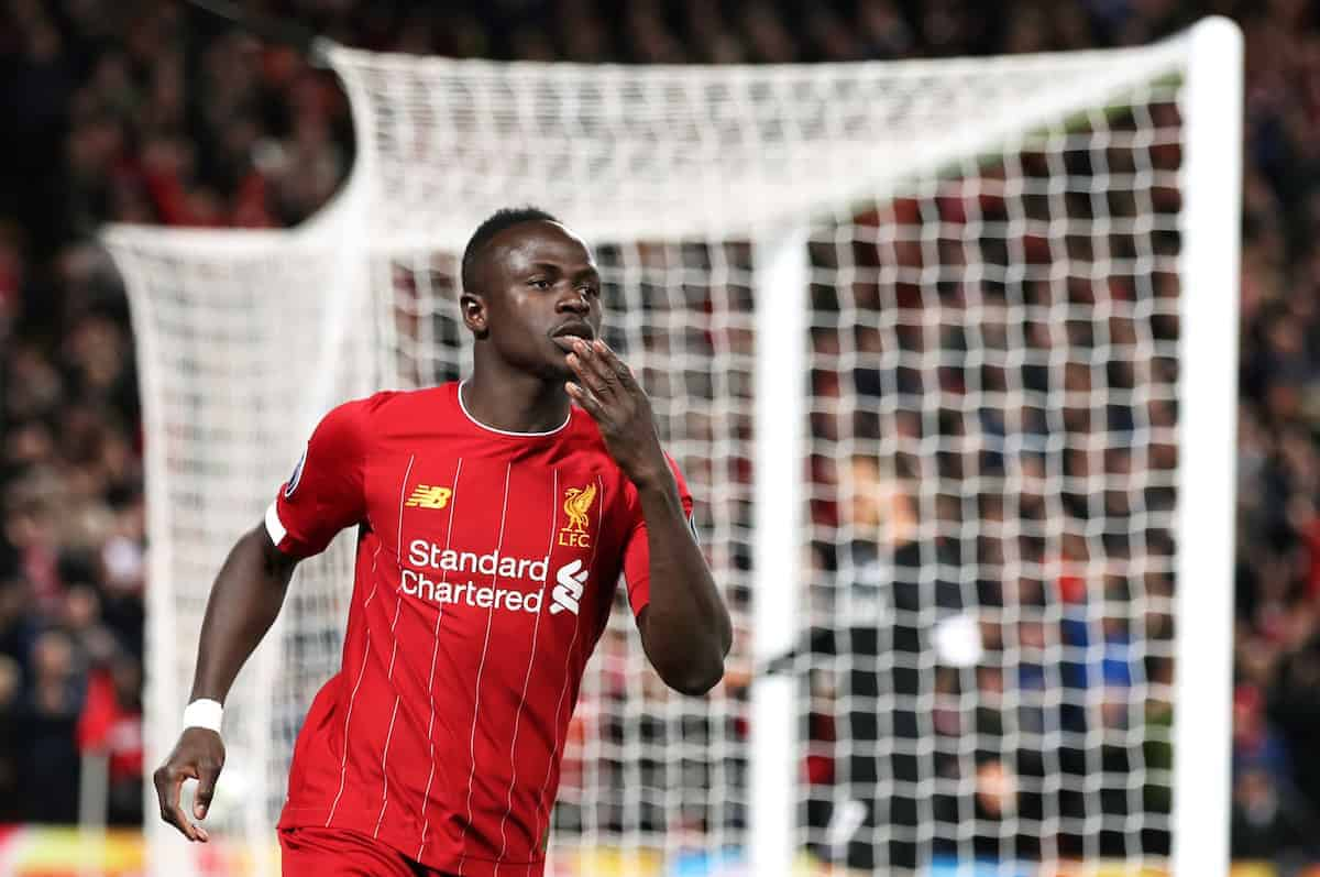 Liverpool's Sadio Mane celebrates scoring his side's first goal of the game during the UEFA Champions League Group E match at Anfield, Liverpool. (Nick Potts/PA Wire/PA Images)