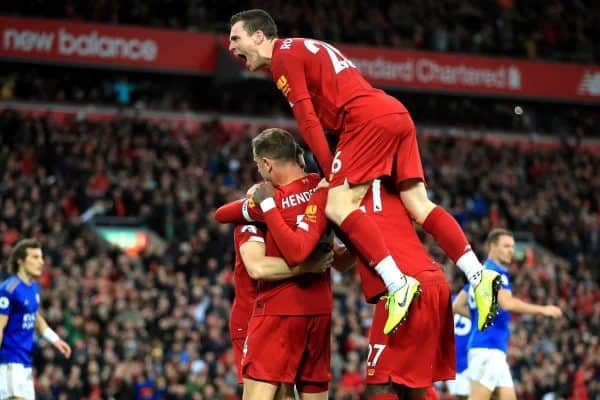 Liverpool players celebrate Milner's penalty vs Leicester (Peter Byrne/PA Wire)