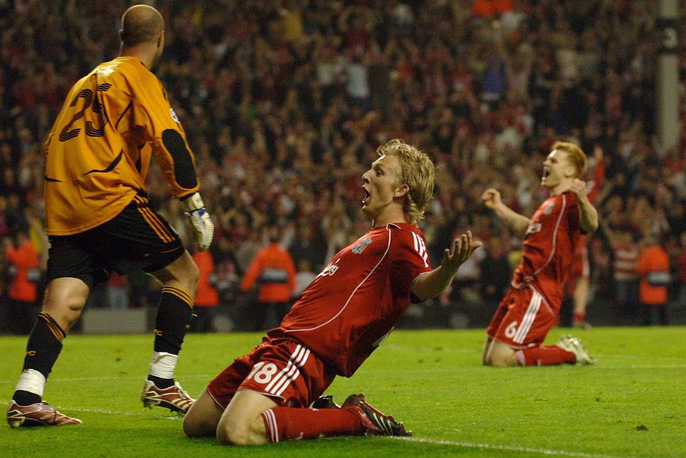 Liverpool's Dirk Kuyt (center), John Arne Riise and Jose Reina (left) celebrate after winning the match on penalties