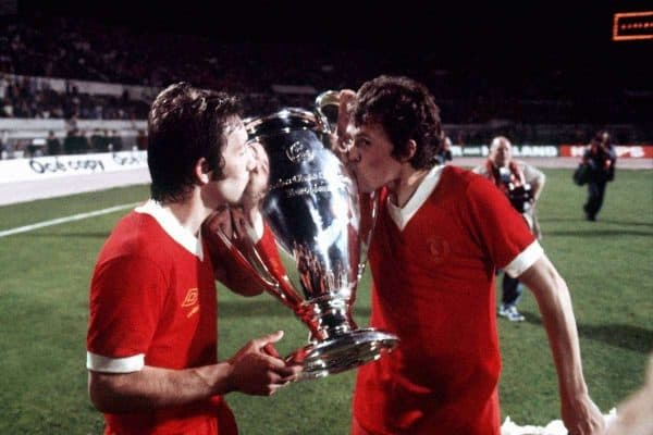 (L-R) Liverpool's Jimmy Case and Phil Neal, who scored the final goal, kiss the European Cup