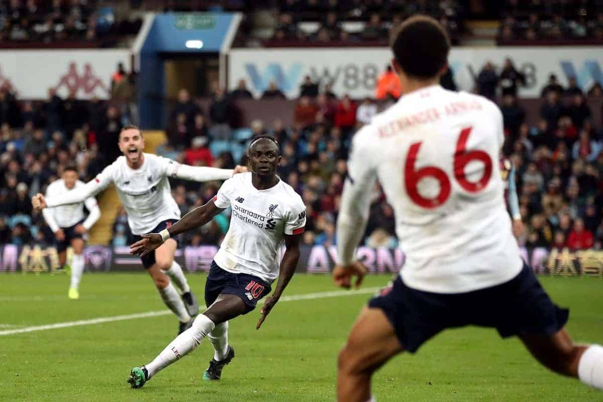 Liverpool's Sadio Mane celebrates scoring his side's second goal of the game during the Premier League match at Villa Park, Birmingham. PA Photo. Nick Potts/PA Wire.