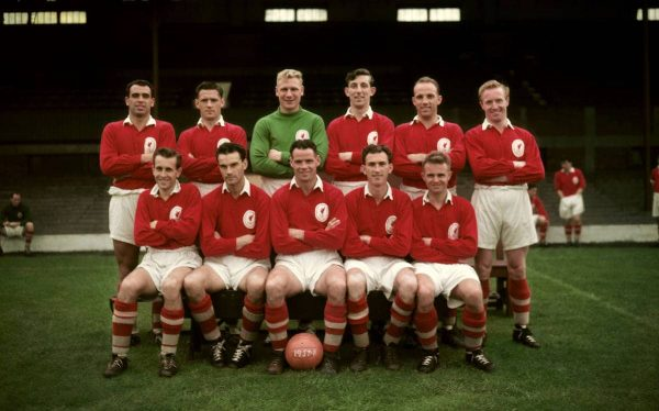 (top row l-r) John Molyneaux, John Wheeler, Tom Younger, Laurie Hughes, John Moran and DOn Campbell. (front row l-r) Brian Jackson, Tony Rowley, Billy Liddell, John Evans and Alan A'Court.