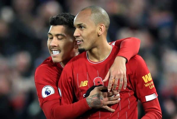 Liverpool's Fabinho (right) celebrates scoring his side's first goal of the game during the Premier League match at Anfield, Liverpool. (PA Images)