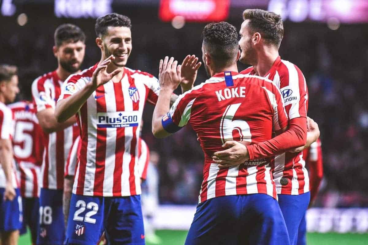 Koke, Saul Niguez and Mario Hermoso celebrates a goal during La Liga match between Club Atletico de Madrid and RCD Espanyol at Wanda Metropolitano on November 10, 2019 in Madrid, Spain . (Photo by Ruben de la Fuente Perez/NurPhoto)