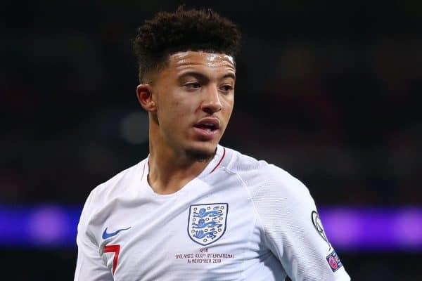 Jadon Sancho of England in action during the UEFA Euro 2020 qualifier match between England and Montenegro at Wembley Stadium. Final Score; England 7 Montenegro 0 (Photo by Richard Calver / SOPA Images/Sipa USA)