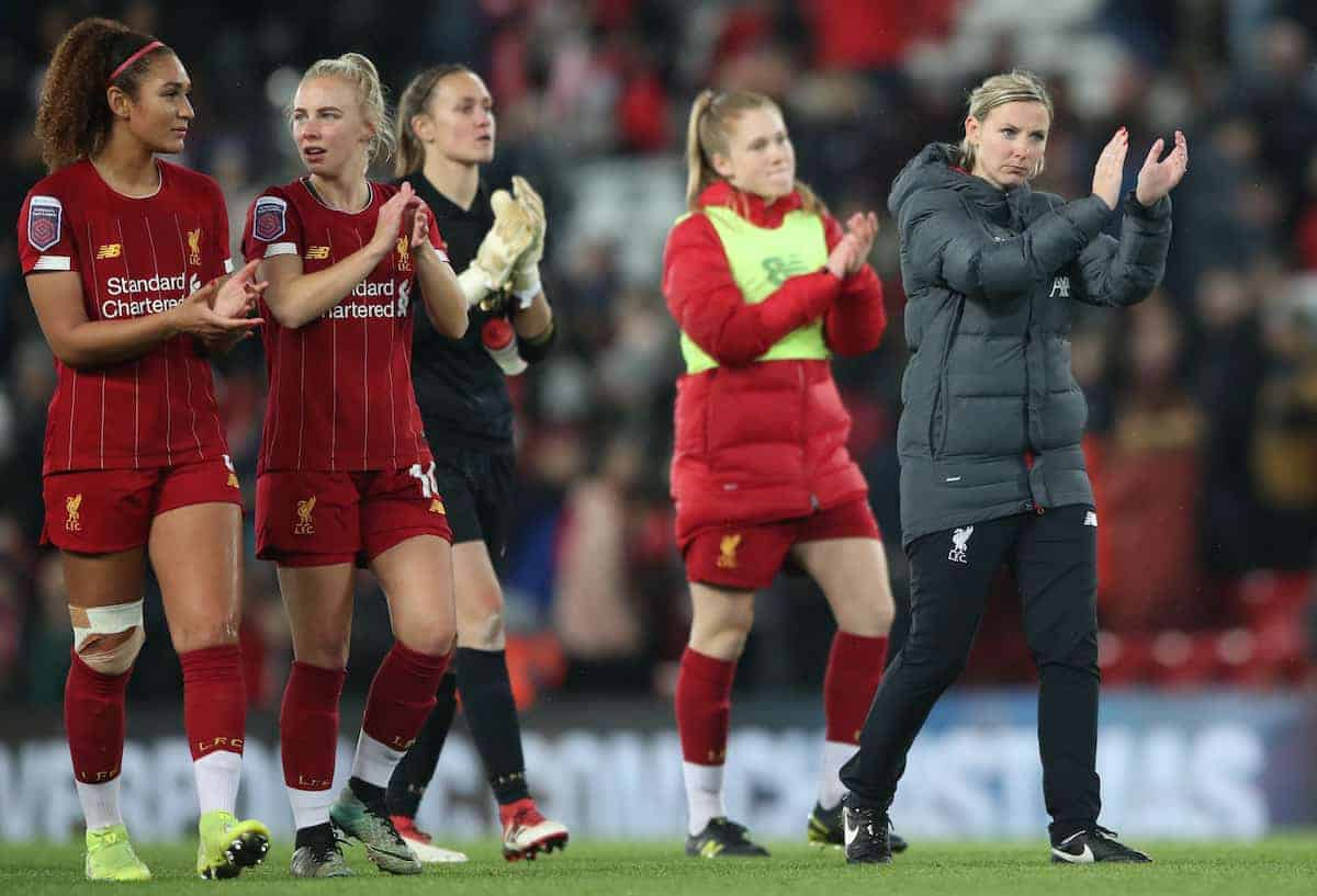 Liverpool Women's Manager Vicky Jepson with her players shows her dejection after the final whistle during the FA Women's Super League match at Anfield, Liverpool. ( Nick Potts/PA Wire/PA Images)