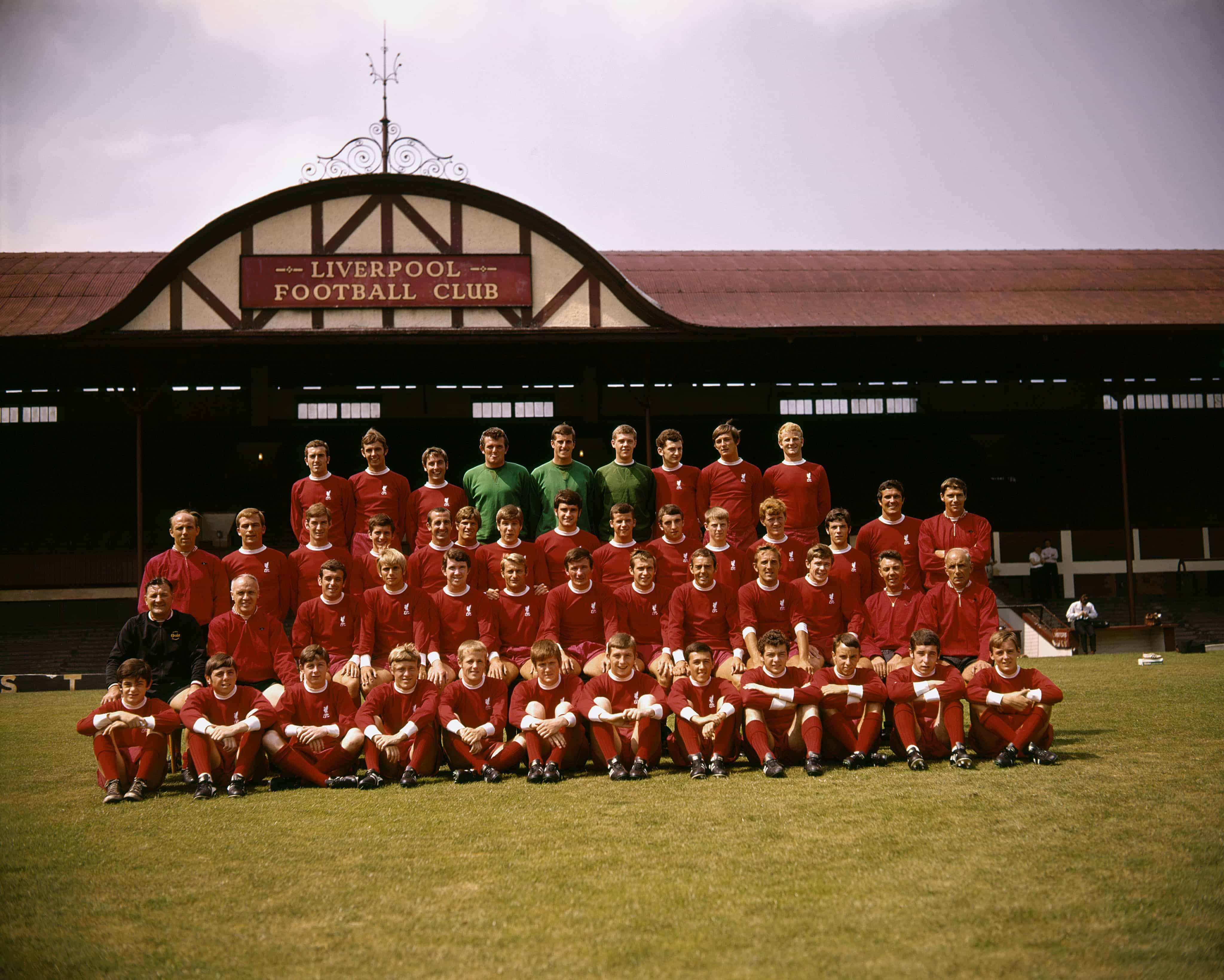 Liverpool squad 1969-70: (back row, l-r) Geoff Strong, Gerry Byrne, Chris Lawler, Tommy Lawrence, Ray Clemence, Larry Lloyd, Ian Ross, Alec Lindsay; (front row, l-r) Ian Callaghan, Alun Evans, Roger Hunt, Tommy Smith, Ron Yeats, Emlyn Hughes, Ian St John, Peter Thompson, Bobby Graham (Picture by PA Photos PA Archive/PA Images)