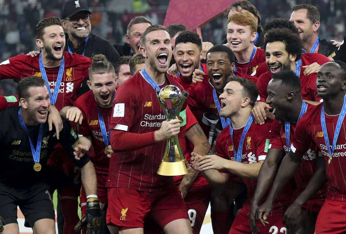 (191222) -- DOHA, Dec. 22, 2019 (Xinhua) -- Liverpool FC players celebrate with the trophy after the final of the FIFA Club World Cup Qatar 2019 against Flamengo in Doha, capital of Qatar, Dec. 21, 2019. (Photo by Nikku/Xinhua)