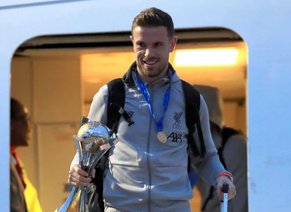Liverpool's Jordan Henderson at John Lennon Airport as the Liverpool team return to the UK following their FIFA Club World Cup victory against Flamengo in Qatar on Saturday night.