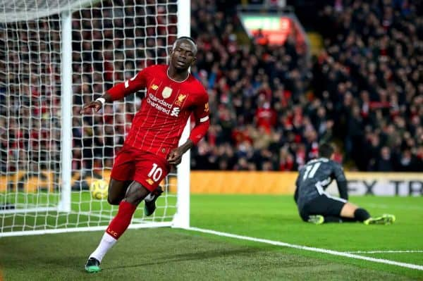 Liverpool's Sadio Mane (left) celebrates scoring his side's first goal of the game during the Premier League match at Anfield Stadium, Liverpool. (Nick Potts/PA Wire/PA Images)