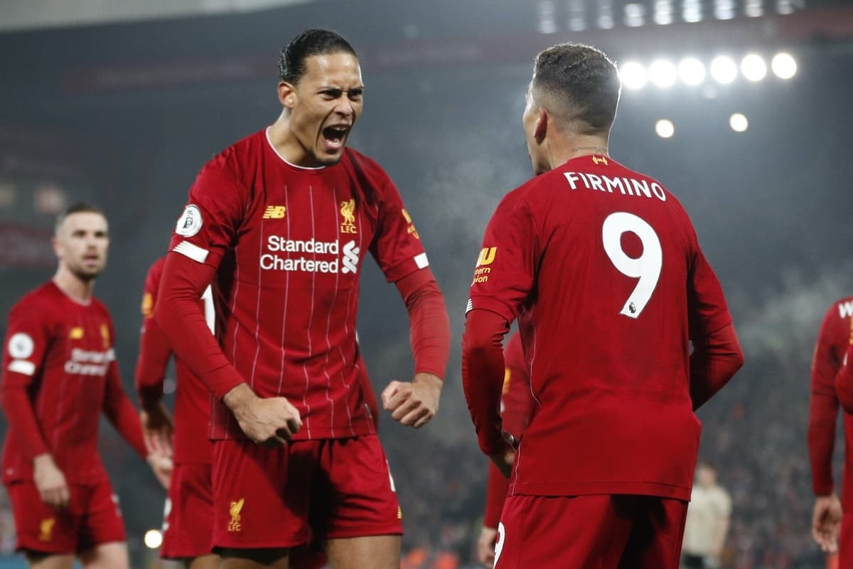 Roberto Firmino of Liverpool celebrates scoring the second goal with Virgil van Dijk of Liverpool before it was disallowed during the Premier League match at Anfield, Liverpool. Picture date: 19th January 2020. Picture credit should read: Darren Staples/Sportimage via PA Images