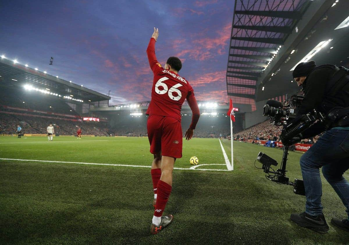 Trent Alexander Arnold, corner, Anfield, sky (Image: Darren Staples/Sportimage via PA Images)