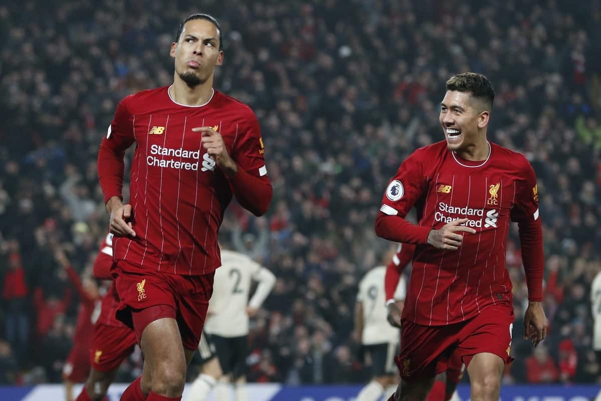 Virgil van Dijk of Liverpool celebrates the first goal in front of the Manchester Utd fans during the Premier League match at Anfield, Liverpool. Picture date: 19th January 2020. Picture credit should read: Darren Staples/Sportimage via PA Images