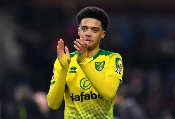 Norwich City's Jamal Lewis applauds the fans after the final whistle during the FA Cup fourth round match at Turf Moor, Burnley.