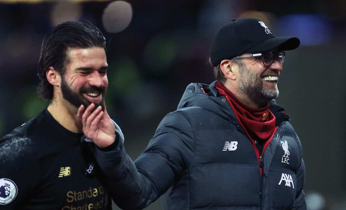 Liverpool manager Jurgen Klopp (right) congratulates goalkeeper Alisson after the final whistle (Steven Paston/EMPICS Sport)