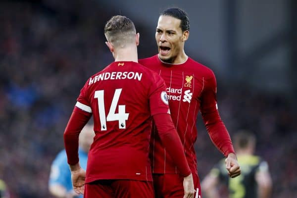 Jordan Henderson of Liverpool celebrates with Virgil Van Dijk after scoring the second goal of the game during the Premier League match at Anfield, Liverpool. Picture date: 1st February 2020. Picture credit should read: James Wilson/Sportimage via PA Images