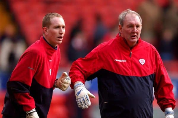 Liverpool Goalkeeping Coach Joe Corrigan (r) warms up Chris Kirkland prior to the game with Everton, 2002 ( Matthew Ashton/EMPICS Sport)