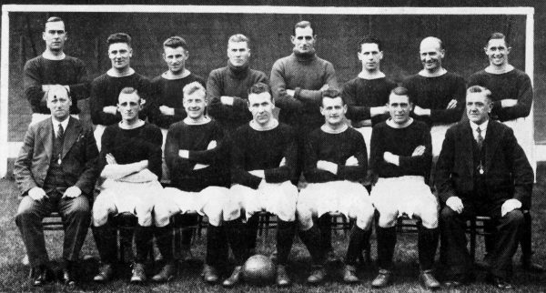 Liverpool team group: (back row, l-r) Gordon Hodgson, Tom Morrison, Willie Steel, Elisha Scott, Arthur Riley, Archie McPherson, Dave Wright, Gordon Gunson (front row, l-r) Manager George Patterson, Harold Barton, James Jackson, Tom Bradshaw, Jimmy McDougal, Ted Crawford, trainer C Wilson