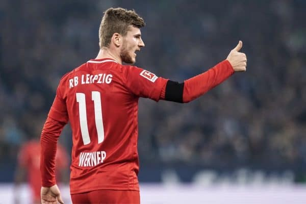 22 February 2020, North Rhine-Westphalia, Gelsenkirchen: Football: Bundesliga, FC Schalke 04 - RB Leipzig, 23rd matchday in the Veltins Arena: Timo Werner of Leipzig shows his raised thumb. Photo: Bernd Thissen/dpa - IMPORTANT NOTE: In accordance with the regulations of the DFL Deutsche Fu?ball Liga and the DFB Deutscher Fu?ball-Bund, it is prohibited to exploit or have exploited in the stadium and/or from the game taken photographs in the form of sequence images and/or video-like photo series.