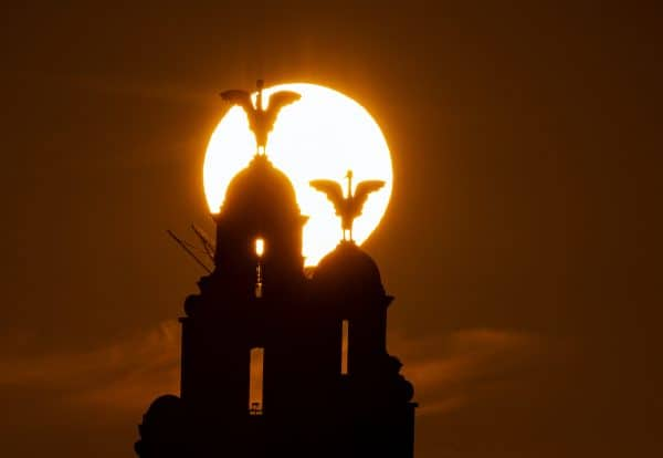 Sun rise, Liver building, Merseyside, general waterfront (PA Images)