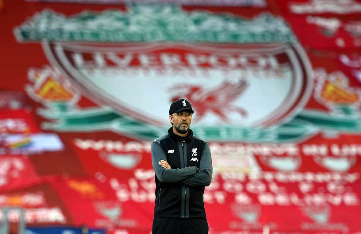 Liverpool manager Jurgen Klopp during the Premier League match at Anfield, Liverpool. (haun Botterill/NMC Pool/PA Wire/PA Images)