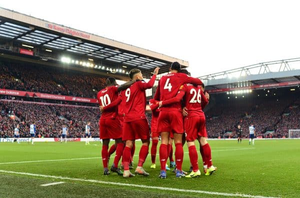 File photo dated 30-11-2019 of Liverpool's Virgil van Dijk celebrates scoring his second sides goal with teammates during the Premier League match at Anfield, Liverpool. PA Photo. Issue date: Thursday June 25, 2020. Liverpool's remarkable, record-breaking season has seen their first top-flight title in 30 years. PA looks at some the reasons behind their success. (Anthony Devlin/PA Wire.)