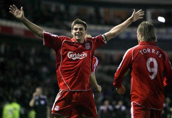 Liverpool's Steven Gerrard celebrates scoring his sides second goal of the game with Fernando Torres