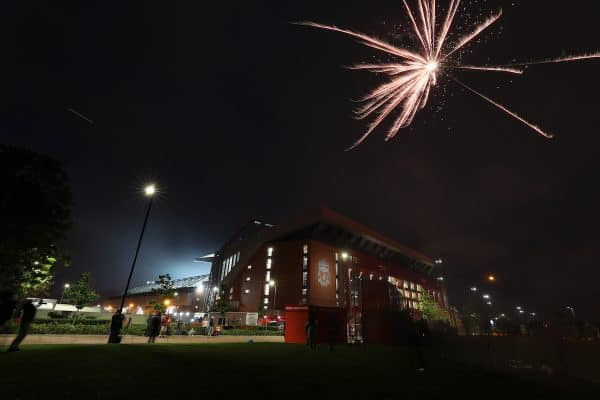 Fireworks are set off outside Anfield Stadium. ( Peter Byrne/PA Wire/PA Images)