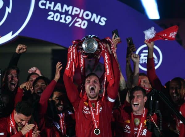 Liverpool captain Jordan Henderson lifts the Premier League Trophy following the Premier League match at Anfield, Liverpool. (Paul Ellis/PA Wire/PA Images)