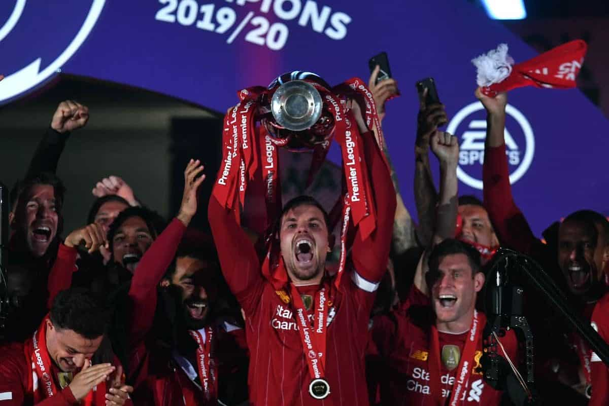Liverpool captain Jordan Henderson lifts the Premier League Trophy following the Premier League match at Anfield, Liverpool. (Paul Ellis/PA Wire/PA Images)
