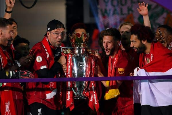Liverpool manager Jurgen Klopp celebrates with the Premier League trophy after the Premier League match at Anfield, Liverpool. ( Laurence Griffiths/PA Wire/PA Images)