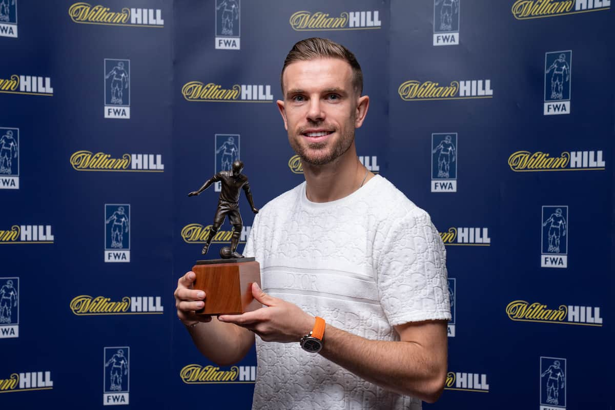 Jordan Henderson of Liverpool Football Club receives the Football Writers Association's Player of the Year trophy, which is sponsored by William Hill. PA Photo. ( Dave Thompson/PA Wire/PA Images)
