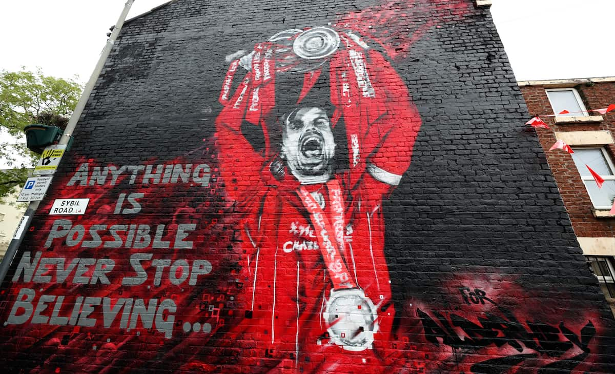 The Jordan Henderson mural created by artist MurWalls on Sybil Road, Liverpool, which has been commissioned by Red Men TV for Alder Hey Hospital.