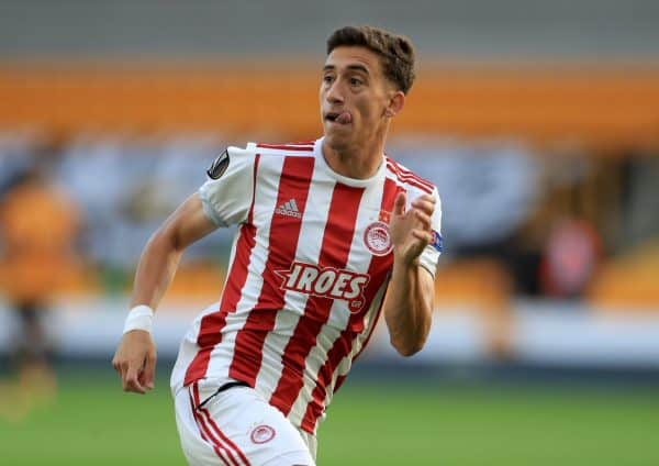 Olympiakos' Konstantinos Tsimikas during the UEFA Europa League round of 16 second leg match at the Molineux Stadium, Wolverhampton. Thursday August 6, 2020. See PA story SOCCER Wolves. Photo credit should read: Mike Egerton/PA Wire.