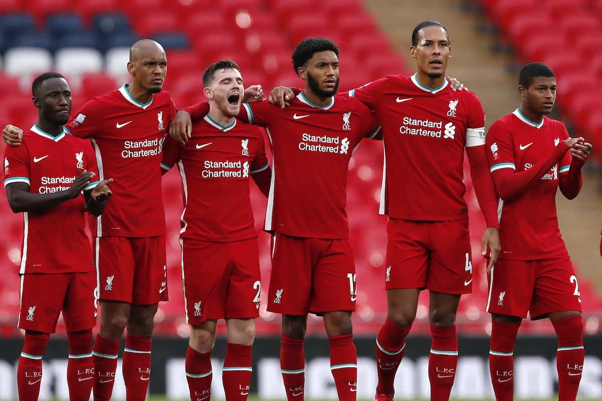 Liverpool players react during the Community Shield at Wembley Stadium, London. ( Andrew Couldridge/PA Wire/PA Images)