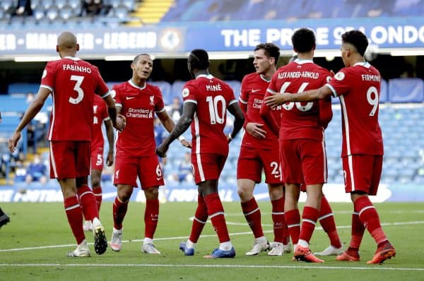 Liverpool's Sadio Mane (centre) celebrates scoring his side's second goal of the game with his teammates during the Premier League match at Stamford Bridge, London. (Image: Michael Regan/PA Wire/PA Images)