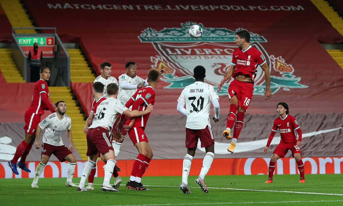 Liverpool's Marko Grujic (16) heads at goal during the Carabao Cup fourth round match at Anfield, Liverpool. ( Peter Byrne/PA Wire/PA Images)