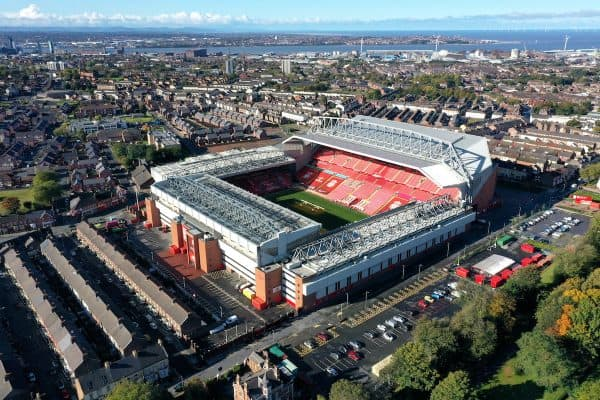 A general view of Anfield Stadium taken by drone from Stanley Park. ( Richard McCarthy/PA Wire/PA Images)