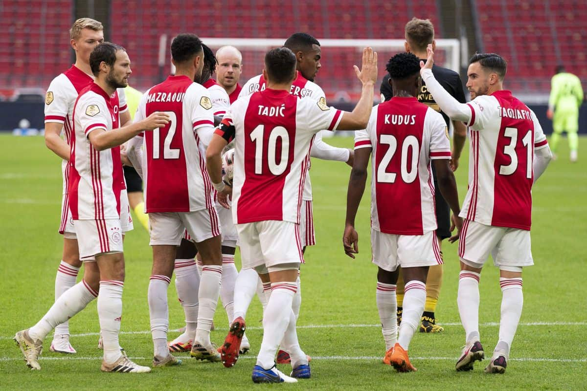 AMSTERDAM , 18-10-2020 , JohanCruyff Arena , Dutch Eredivisie, Season 2019-2020 , Ajax - SC Heerenveen , Ajax player Dusan Tadic celebrating the 2-0 (Photo by Pro Shots/Sipa USA)