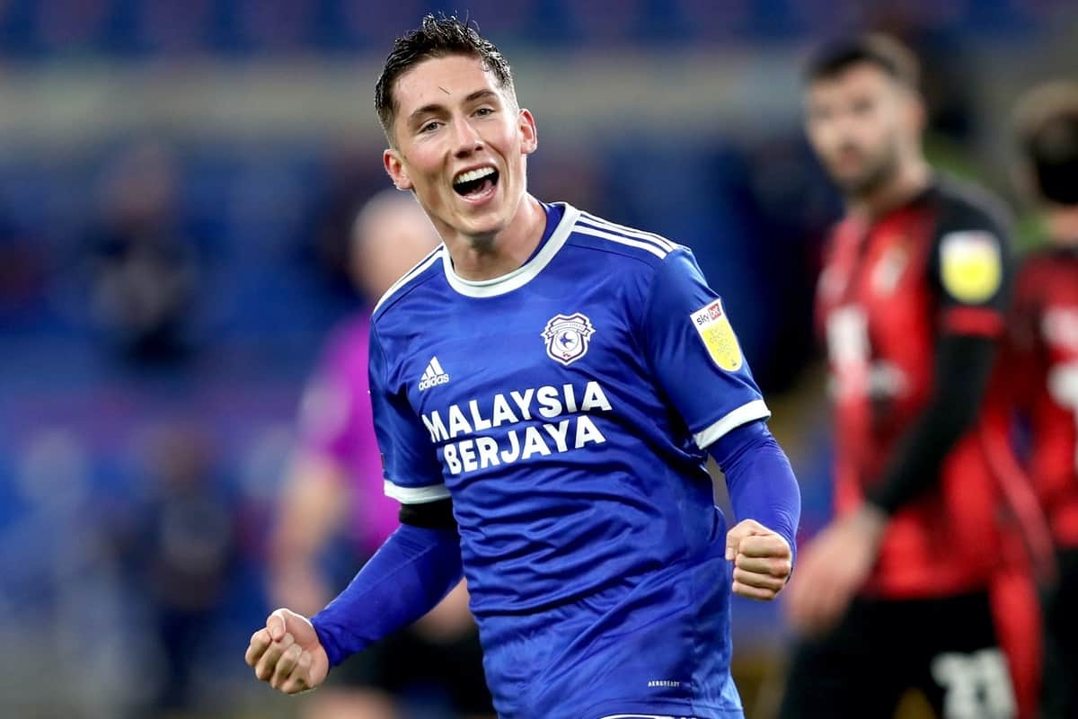 Cardiff City's Harry Wilson celebrates scoring his side's first goal of the game during the Sky Bet Championship match at the Cardiff City Stadium.