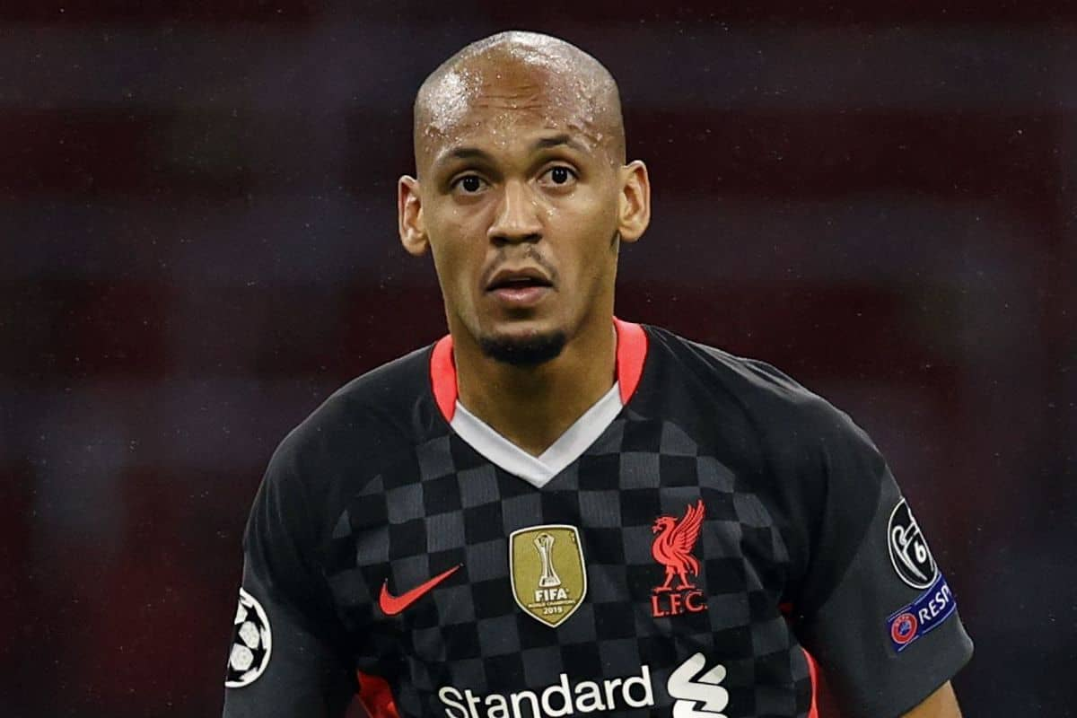 AMSTERDAM - Fabinho of Liverpool FC during the UEFA Champions League match in group D between Ajax Amsterdam and Liverpool FC at the Johan Cruijff Arena on October 21, 2020 in Amsterdam, Netherlands. (MAURICE VAN STEEN/ANP Sport/PA Images)