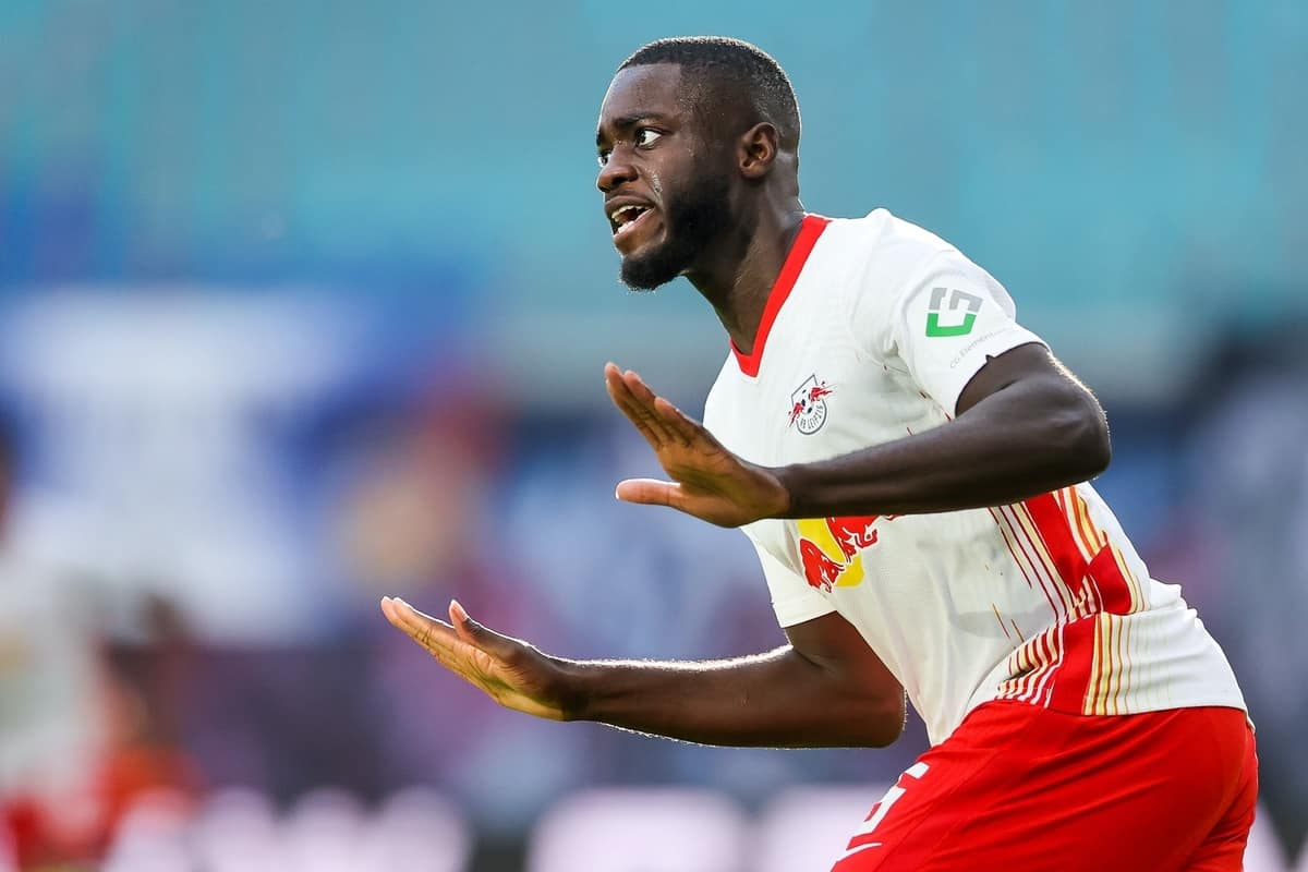 24 October 2020, Saxony, Leipzig: Football: Bundesliga, 5th matchday, RB Leipzig - Hertha BSC in the Red Bull Arena Leipzig. Leipzig's Dayot Upamecano cheers after his equaliser for 1:1. Photo: Jan Woitas/dpa-Zentralbild/dpa - IMPORTANT NOTE: In accordance with the regulations of the DFL Deutsche Fu?ball Liga and the DFB Deutscher Fu?ball-Bund, it is prohibited to exploit or have exploited in the stadium and/or from the game taken photographs in the form of sequence images and/or video-like photo series.