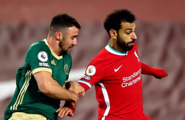 Sheffield United's Enda Stevens (left) and Liverpool's Mohamed Salah during the Premier League match at Anfield, Liverpool. (Image: Michael Steele/PA Wire/PA Images)