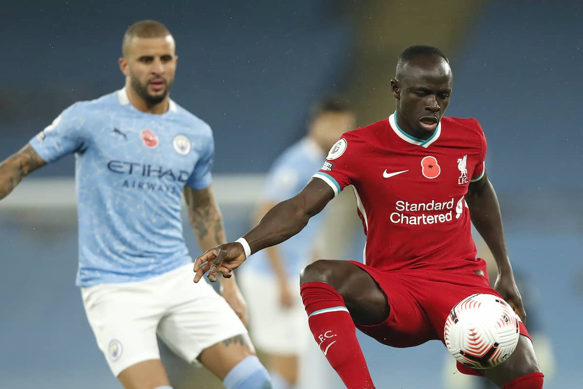 Liverpool's Sadio Mane (right) and Manchester City's Kyle Walker in action during the Premier League match at the Etihad Stadium, Manchester. (Clive Brunskill/PA Wire/PA Images)
