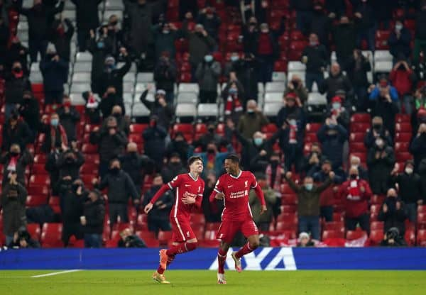Liverpool's Georginio Wijnaldum (right) celebrates scoring his side's second goal of the game in front of returning fans during the Premier League match at Anfield, Liverpool. (Jon Super/PA Wire/PA Images)