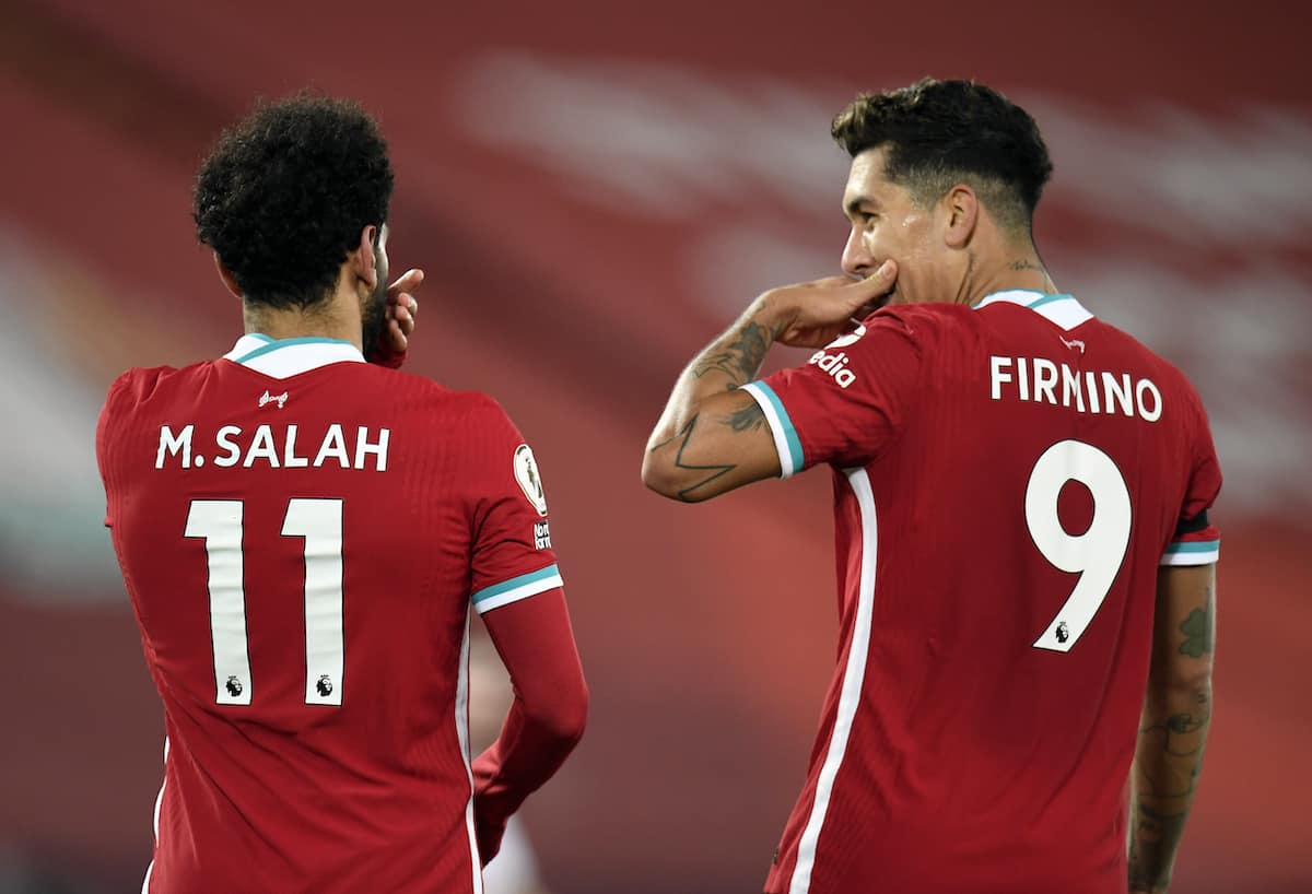 Liverpool's Mohamed Salah celebrates scoring with Liverpool's Roberto Firmino during the Premier League match at Anfield, Liverpool. (Peter Powell/PA Wire/PA Images)
