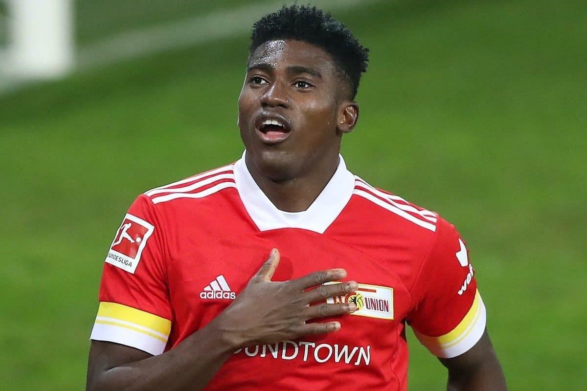 firo: 18.12.2020 Football, Soccer 1. Bundesliga, Season 2020/2021 Union Berlin - BVB Borussia Dortmund 2: 1 Union Taiwo Awoniyi, jubilation, goaljubel, gesture, gesture, after the 1: 0, | usage worldwide