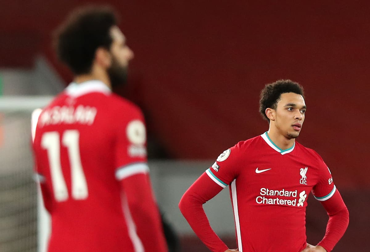 Liverpool's Mohamed Salah (left) and Trent Alexander-Arnold appear dejected during the Premier League match at Anfield, Liverpool. Picture date: Thursday January 21, 2021. (Clive Brunskill/PA Wire/PA Images)