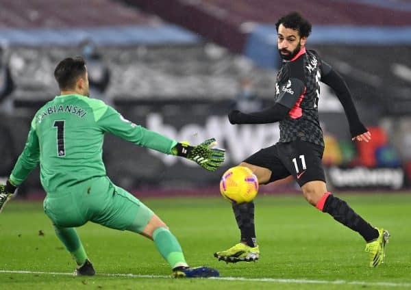 Liverpool's Mohamed Salah (right) scores their side's second goal of the game during the Premier League match at the London Stadium, London. Picture date: Sunday January 31, 2021. Justin Setterfield/PA Wire/PA Images
