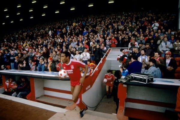 Liverpool's John Barnes emerges from the Anfield tunnel, 1987